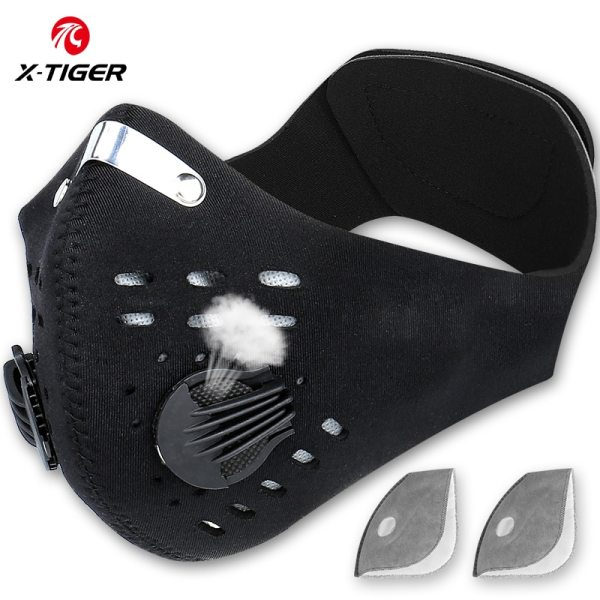 X Tiger Pro Cycling Face Mask With Filters Breathable Cycling Mask Activated Carbon Anti Pollution Sport X-Tiger Pro Cycling Face Mask With Filters Breathable Cycling Mask Activated Carbon Anti-Pollution Sport Training Bike Facemask