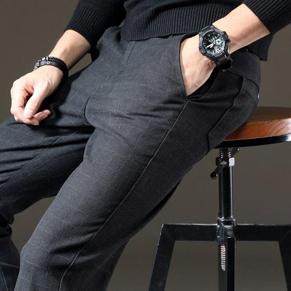jantour Brand Pants Men Casual Elastic Long Trousers Male Cotton lattice straight gray Work Pant men 5 jantour Brand Pants Men Casual Elastic Long Trousers Male Cotton lattice straight gray Work Pant men's autumn Large size 28-38