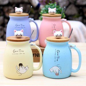 450ml Cartoon Ceramics Cat Mug With Lid and Spoon Coffee Milk Tea Mugs Breakfast Cup Drinkware Innrech Market.com