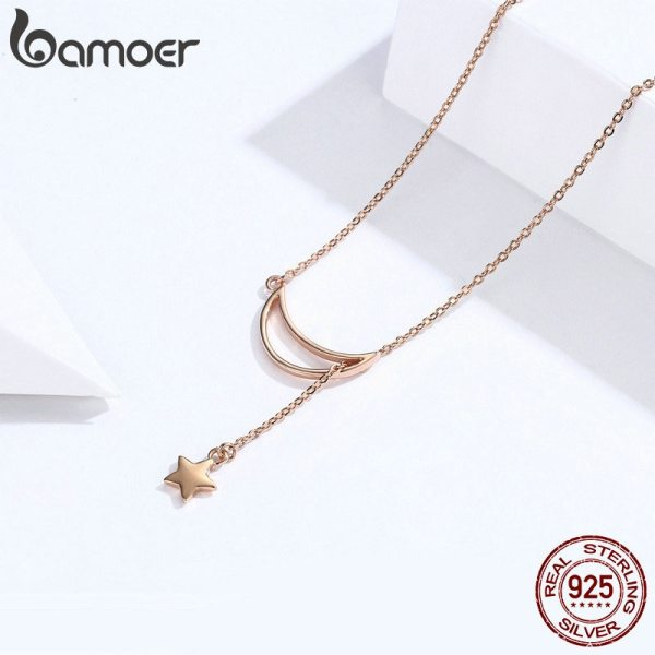 BAMOER New Arrival Fashion 925 Sterling Silver Moon and Star Tales Chain Link Pendant Necklaces for 3 BAMOER New Arrival Fashion 925 Sterling Silver Moon and Star Tales Chain Link Pendant Necklaces for Women Fine Jewelry SCN108