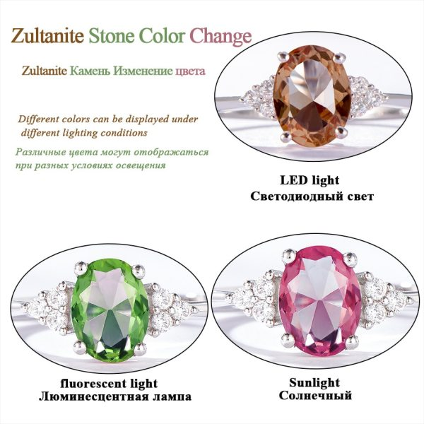Kuololit Diaspore Zultanite Gemstone Ring for Women Solid 925 Sterling Silver Color Change Ring for Wedding 4 Kuololit Diaspore Zultanite Gemstone Ring for Women Solid 925 Sterling Silver Color Change Ring for Wedding Engagement Jewelry