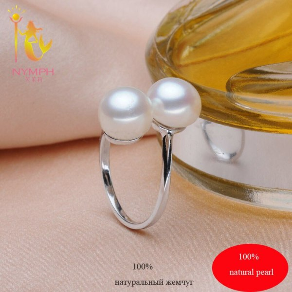 NYMPH Pearl Rings Jewlery Natural Freshwater Pearl Double Trendy Rings Wedding Bands Party Birthday Gift For 1 NYMPH Pearl Rings Jewlery Natural Freshwater Pearl Double Trendy Rings Wedding Bands Party Birthday Gift For Girl Women R028
