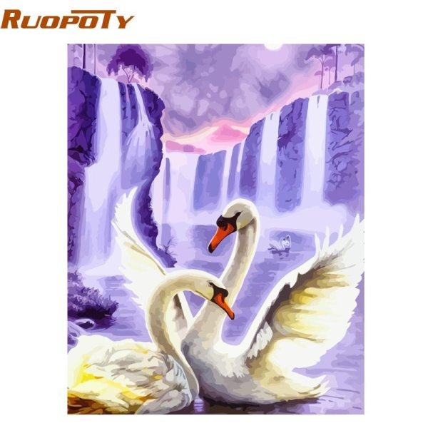 RUOPOTY Frame Swan Animals DIY Painting By Numbers Wall Art Picture Acrylic Canvas Painting For Wedding RUOPOTY Frame Swan Animals DIY Painting By Numbers Wall Art Picture Acrylic Canvas Painting For Wedding Decoration Drop Shipping