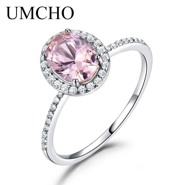 UMCHO 925 Sterling Silver Ring Oval Classic Pink Morganite Rings For Women Engagement Gemstone Wedding Band 1 UMCHO 925 Sterling Silver Ring Oval Classic Pink Morganite Rings For Women Engagement Gemstone Wedding Band Fine Jewelry Gift