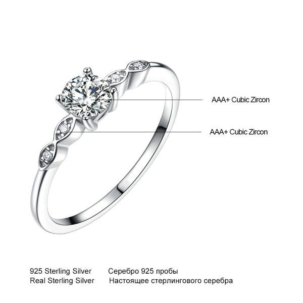 UMCHO Silver 925 Jewelry Luxury Bridal Cubic Zirconia Rings for Women Solitaire Engagement Wedding Band Party 4 UMCHO Silver 925 Jewelry Luxury Bridal Cubic Zirconia Rings for Women Solitaire Engagement Wedding Band Party Gift Jewelry New