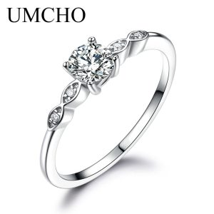 UMCHO Silver 925 Jewelry Luxury Bridal Cubic Zirconia Rings for Women Solitaire Engagement Wedding Band Party Innrech Market.com