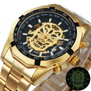 WINNER Official Golden Automatic Watch Men Steel Strap Skeleton Mechanical Skull Watches Top Brand Luxury Dropshipping Innrech Market.com
