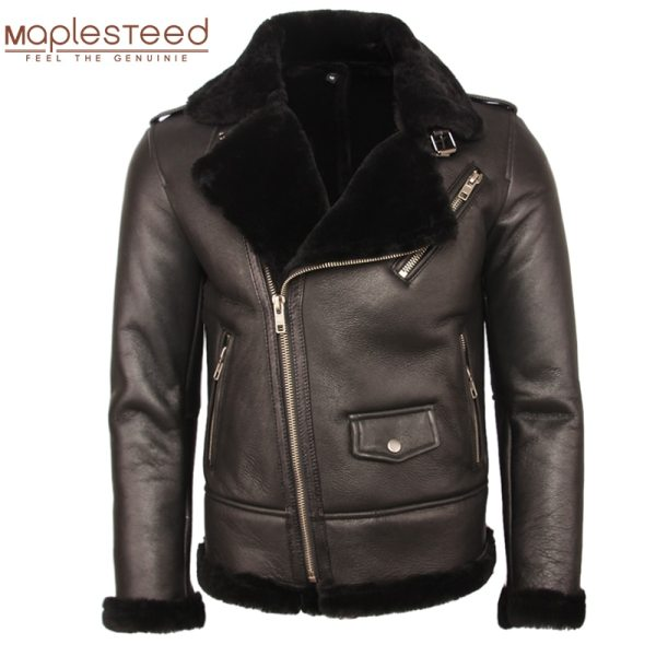 100 Natural Shearling Coat Men Thick Fur Coat Winter Mens Leather Coat Warm Winter Clothing Size 100% Natural Shearling Coat Men Thick Fur Coat Winter Mens Leather Coat Warm Winter Clothing Size 4XL Free Shipping M362