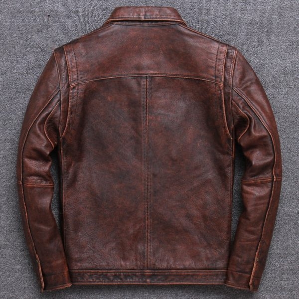2019 Vintage Brown Men Smart Casual Leather Jacket Single Breasted Plus Size XXXL Genuine Cowhide Russian 2 2019 Vintage Brown Men Smart Casual Leather Jacket Single Breasted Plus Size XXXL Genuine Cowhide Russian Coat FREE SHIPPING