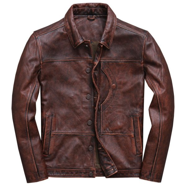 2019 Vintage Brown Men Smart Casual Leather Jacket Single Breasted Plus Size XXXL Genuine Cowhide Russian 3 2019 Vintage Brown Men Smart Casual Leather Jacket Single Breasted Plus Size XXXL Genuine Cowhide Russian Coat FREE SHIPPING