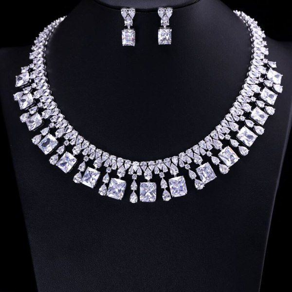 4 Color Select Luxury better Cubic Zircon Clear Necklace Earrings Set Heavy Dinner Jewelry Set Wedding 1 4 Color Select Luxury better Cubic Zircon Clear Necklace Earrings Set Heavy Dinner Jewelry Set Wedding Bridal Dress Accessories