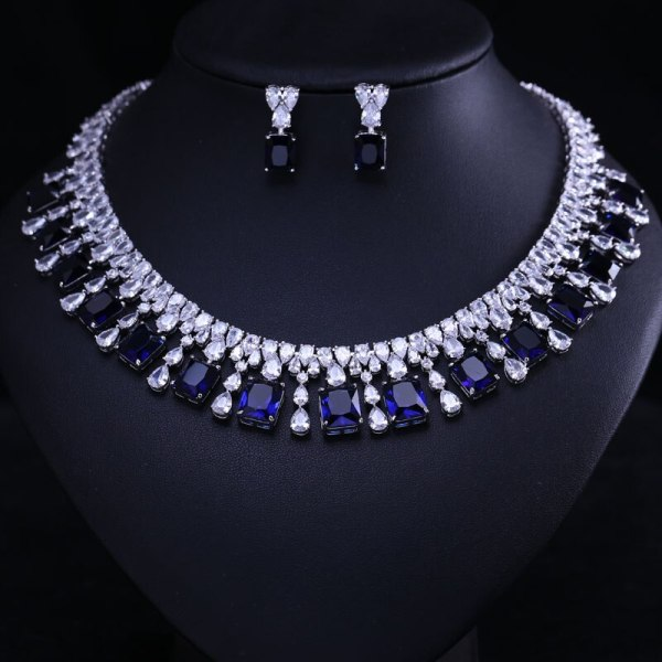 4 Color Select Luxury better Cubic Zircon Clear Necklace Earrings Set Heavy Dinner Jewelry Set Wedding 3 4 Color Select Luxury better Cubic Zircon Clear Necklace Earrings Set Heavy Dinner Jewelry Set Wedding Bridal Dress Accessories