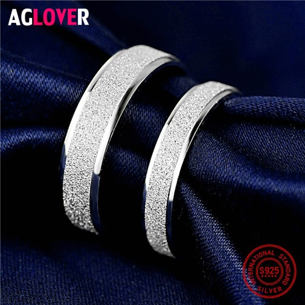 925 Sterling Silver Rings Woman Fashion Simple Couple Matte Rings Charming Female Lovers Jewelry 2 925 Sterling Silver Rings Woman Fashion Simple Couple Matte Rings Charming Female Lovers Jewelry