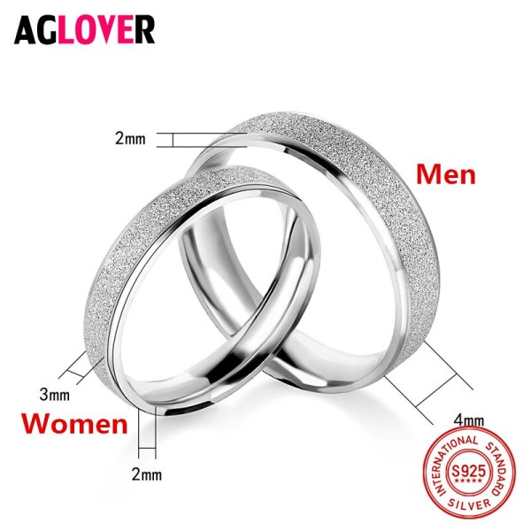 925 Sterling Silver Rings Woman Fashion Simple Couple Matte Rings Charming Female Lovers Jewelry 4 925 Sterling Silver Rings Woman Fashion Simple Couple Matte Rings Charming Female Lovers Jewelry