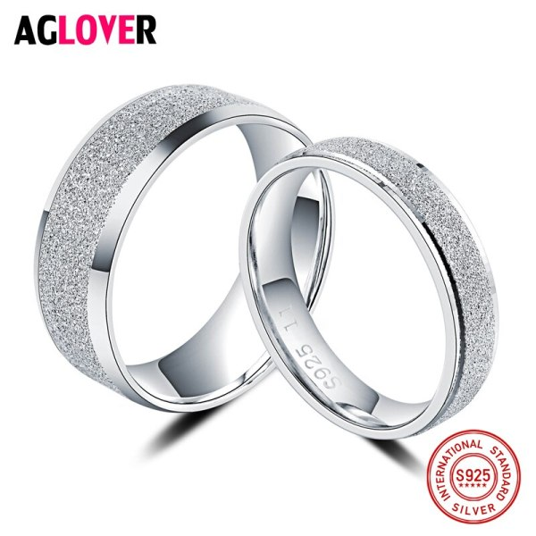 925 Sterling Silver Rings Woman Fashion Simple Couple Matte Rings Charming Female Lovers Jewelry 5 925 Sterling Silver Rings Woman Fashion Simple Couple Matte Rings Charming Female Lovers Jewelry