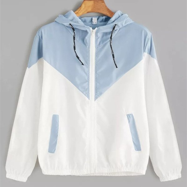 Europe and the United States in the summer 2018 women s clothing color matching elastic waist 3 Europe and the United States in the summer 2018 women s clothing color matching elastic waist hooded jacket