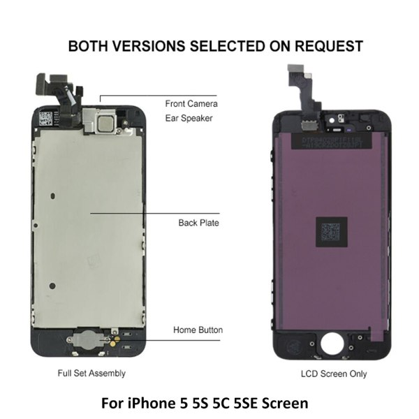 Full Set LCD Display for iPhone 5 5C 5S 5G LCD Screen Touch Digitizer Full Assembly 3 Full Set LCD Display for iPhone 5 5C 5S 5G LCD Screen Touch Digitizer Full Assembly LCD Replacement Pantalla+Home Button+Camera