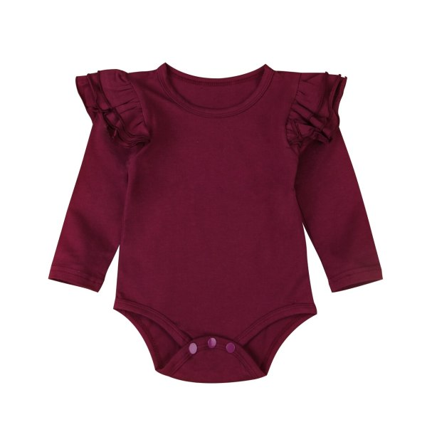 Infant Baby Girls Solid Ruffles Cotton Romper Long Sleeve Outfits Jumpsuit Clothes 2 Infant Baby Girls Solid Ruffles Cotton Romper Long Sleeve Outfits Jumpsuit Clothes