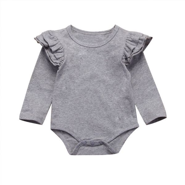 Infant Baby Girls Solid Ruffles Cotton Romper Long Sleeve Outfits Jumpsuit Clothes 5 Infant Baby Girls Solid Ruffles Cotton Romper Long Sleeve Outfits Jumpsuit Clothes