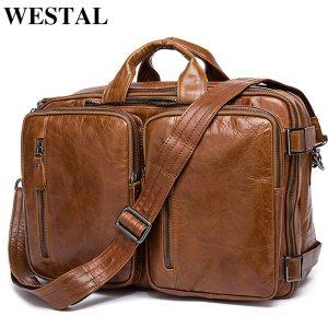 WESTAL Men s Briefcase messenger bag men leather briefcase male laptop bags men s genuine leather Innrech Market.com