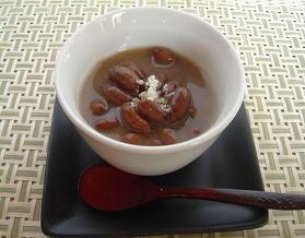 ピーナッツ汁粉・杏仁風味の盛付例