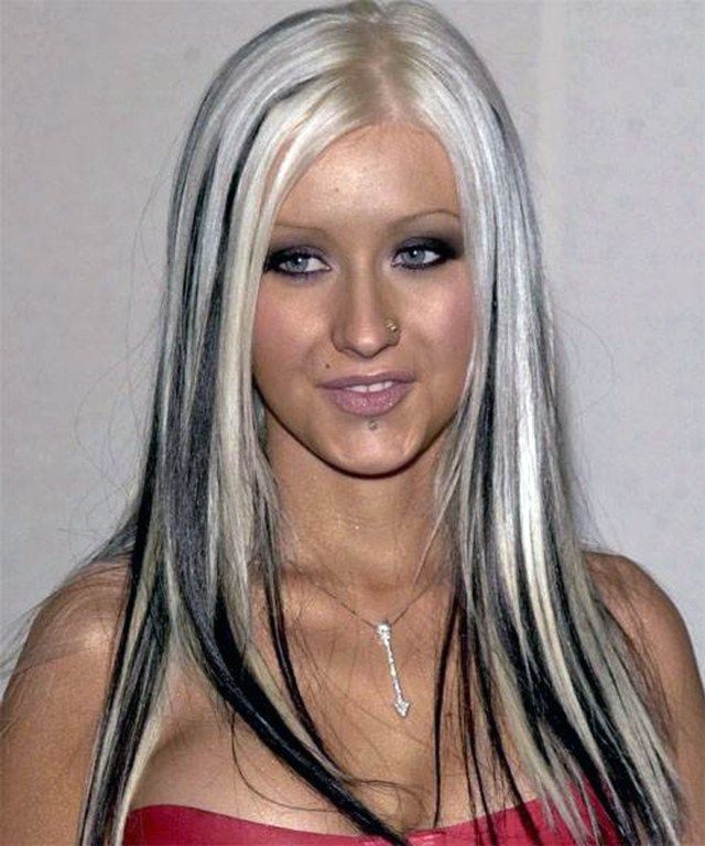 hair color black with blonde streaks style - inofashionstyle