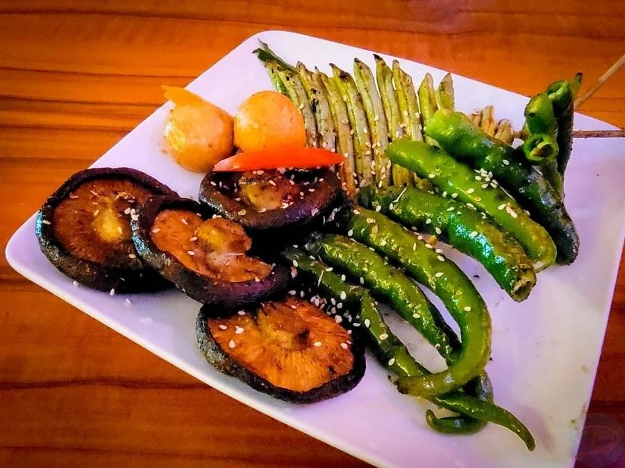 菁串蔬食燒烤_糯米椒_四季豆_香菇
