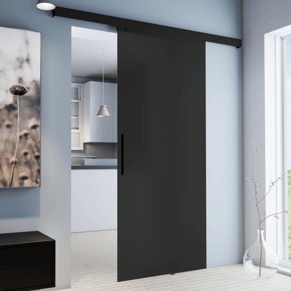 porte coulissante interieure 90 x 203 cm verre opaque anthracite poignee noire
