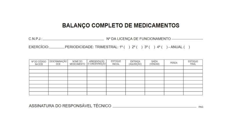 BMPO - Balanço Completo de Medicamentos