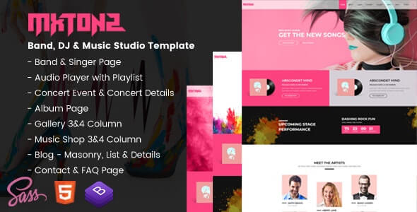 MxTonz – A Fresh Band, DJ & Music Studio FREE Site Template