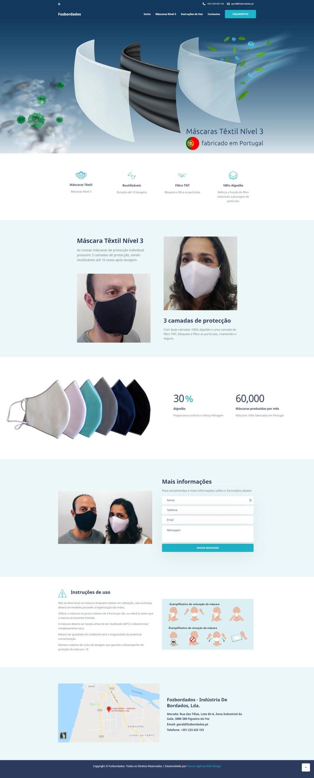Máscaras COVID-19 - Máscara Têxtil 3 Camadas - Algodão e TNT