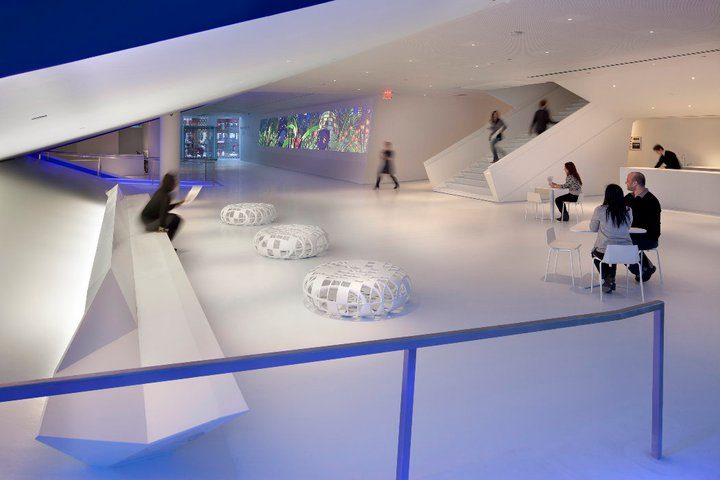 Redesigned lobby, Museum of the Moving Image. Credit: Peter Aaron/Esto. Courtesy of Museum of the Moving Image