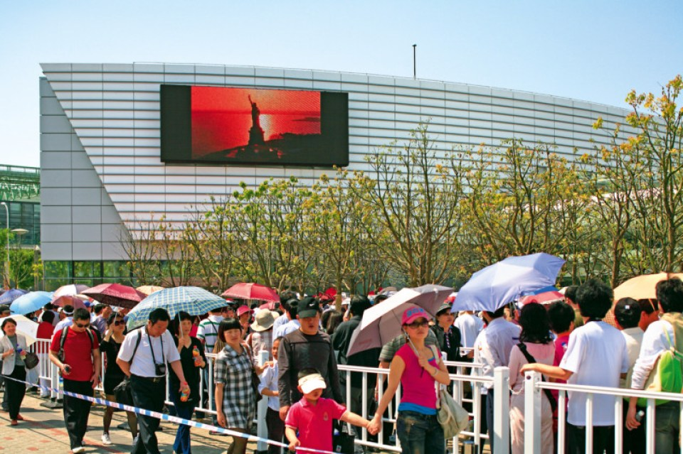 Giant video screen at the USAP, Shanghai 2010. Photo courtesy James Ogul.