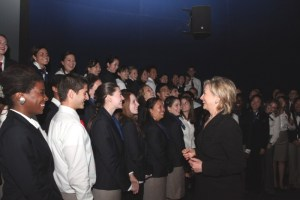 Secretary Clinton with the US Pavilion Student Ambassadors, Shanghai 2010