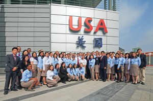 Student Ambassadors in front of the USA Pavilion, Shanghai Expo 2010
