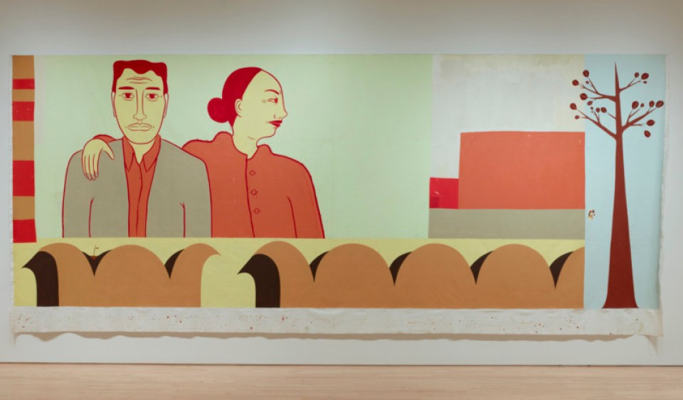 Margaret Kilgallen, Untitled, 2000, acrylic on unstretched canvas; 136 1/2 x 316 in. (346.71 x 802.64 cm); Collection SFMOMA, Purchase, by exchange, through a fractional gift of Evelyn D. Haas, and through gifts of Albert M. Bender, Vicki and Kent Logan, Janice and Henry Rooney, and bequests of Dr. Gertrude Ticho and Dean Barnlund; © Estate of Margaret Kilgallen