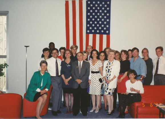 Senior staff of the US Pavilion for Seville Expo 92, in the VIP lounge. Photo courtesy James Ogul