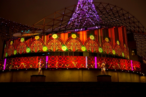 International Art Festival in Melbourne, Australia featured Christie's projection mapping (lr)