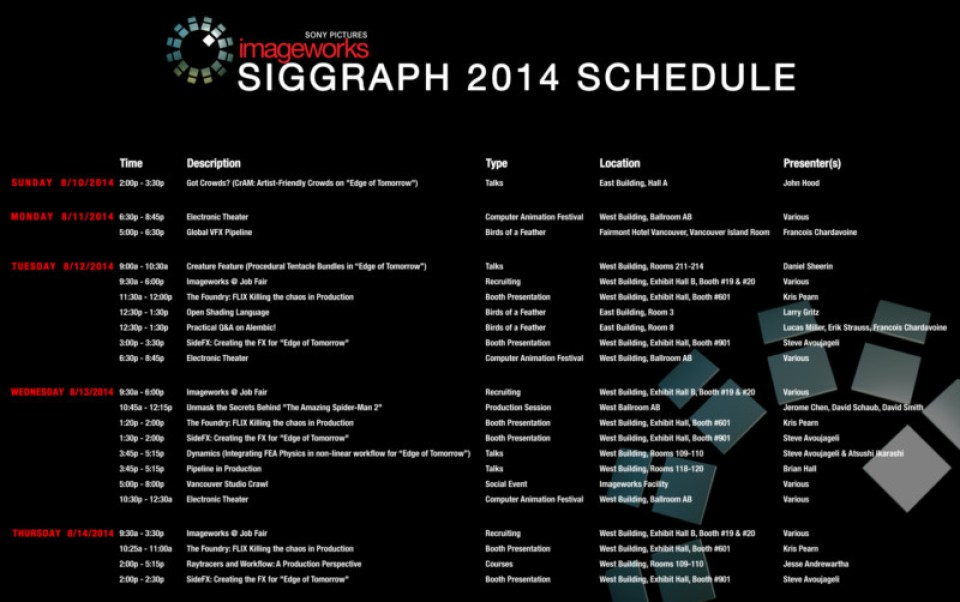 Siggraph 2014 Calendar of Events_FINAL