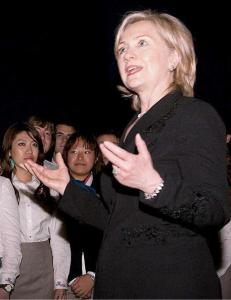 Hillary Clinton addresses student ambassadors at the USAP in Shanghai