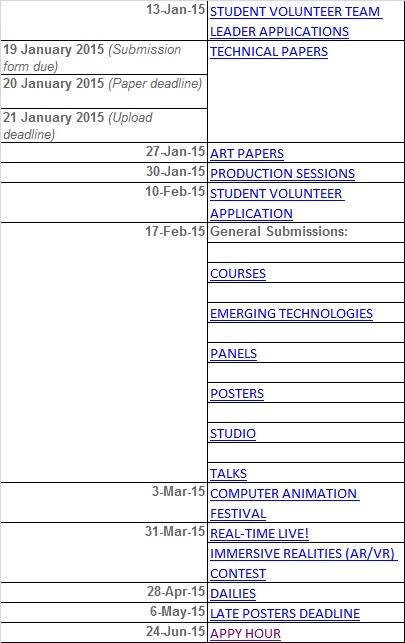 siggraph schedule