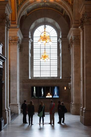 BILL VIOLA Martyrs (Earth, Air, Fire, Water), 2014 Color High-Definition video polyptych on four vertical plasma displays 55 x 133 x 4 in. (140 x 338 x 10 cm) Duration 7:15 minutes Installation view: St. Paul's Cathedral, London, photo: Peter Mallet