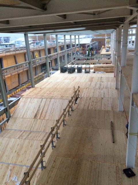 Lumber from the Coney Island boardwalk was repurposed as part of the USAP structure