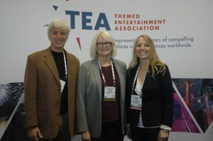 Steve Birket, Christine Kerr and Jennie Nevin at the TEA booth during the IAAPA Attractions Expo in November 2014