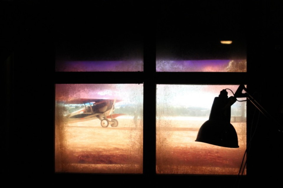 lying Aces projected window display