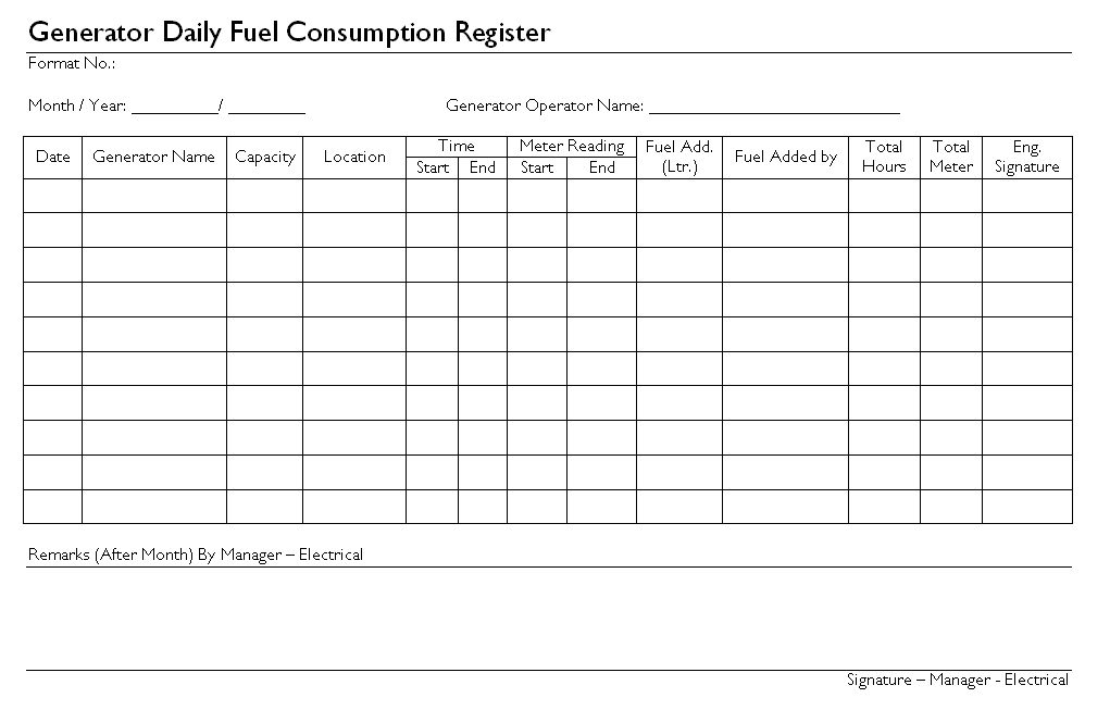 Generator Maintenance Format Log Sheet