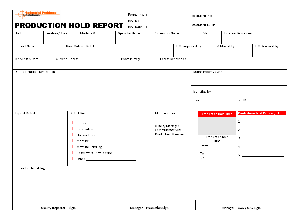 Monthly production report format for manufacturing industry in excel. Production Hold Report Format