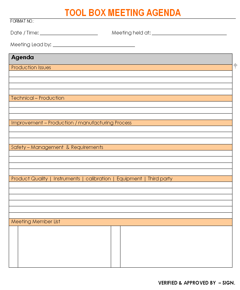 This meeting agenda format template is a great example of how to create an agenda that looks professional and orderly. Toolbox Meeting Agenda Format Template Excel Word Pdf