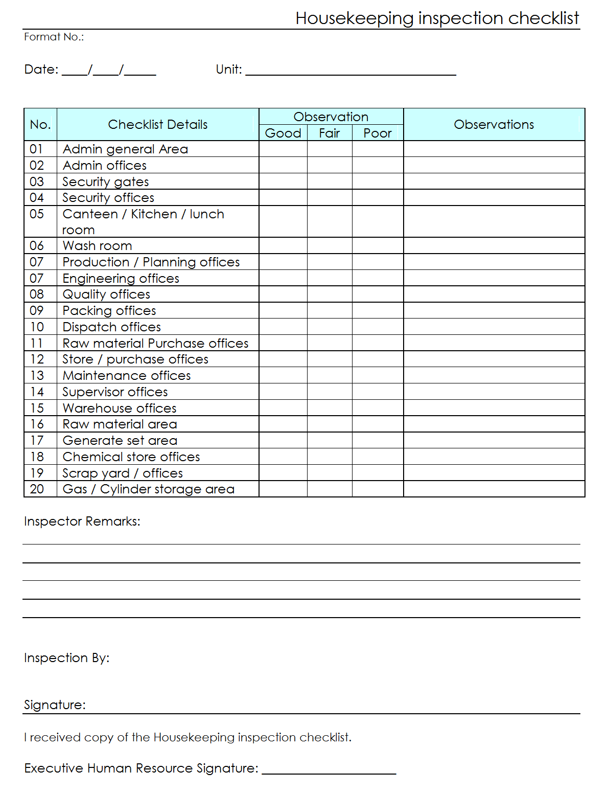 Workplace Housekeeping Inspection Checklist For Factory