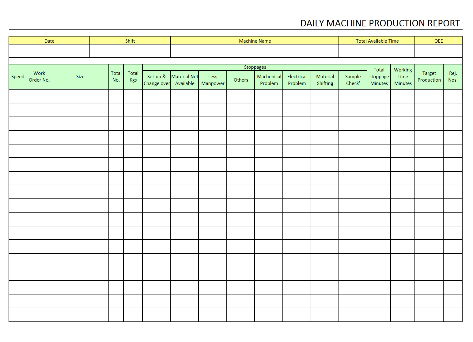 Tailor the pdf to a design that works for you! Daily Machine Production Report